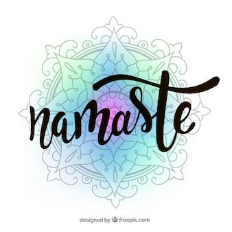 "Kleurrijke mandala achtergrond met ""namaste"" woord"