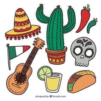 Kleurrijke Mexico elementen