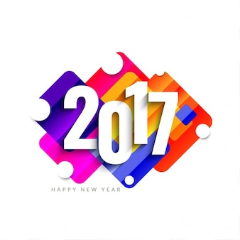 Kleurrijke modern nieuw jaar 2017 achtergrond