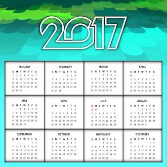 Kleurrijke nieuwe jaar 2017 kalender ontwerp