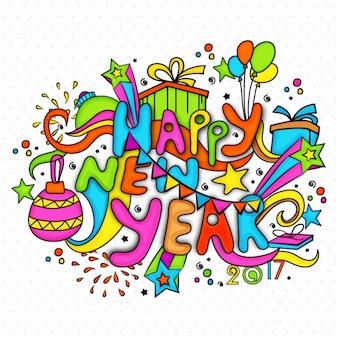 Kleurrijke nieuwe jaar achtergrond in de hand getekende stijl