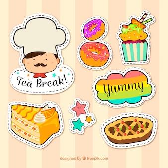 Kleurrijke pakjes van desserts stickers