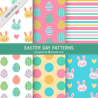 Kleurrijke Pasen patronen in plat design