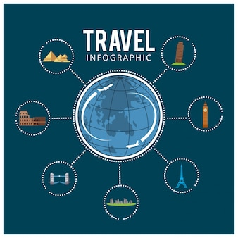 Kleurrijke reis Reizen en toerisme achtergrond en infographic