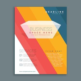 Kleurrijke strepen zakelijke brochure flyer ontwerp in A4-formaat