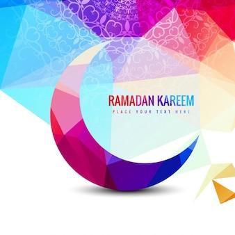Kleurrijke veelhoek ramadan kareem achtergrond