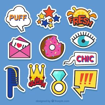 Kleurrijke verscheidenheid aan leuke stickers