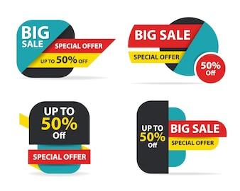 Kleurrijke winkel verkoop banner sjabloon