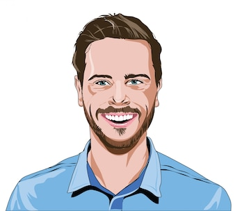 Koele mannen illustratie portret vector