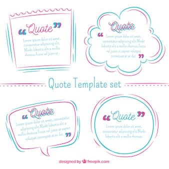 Koele moderne collectie van citaat sjablonen