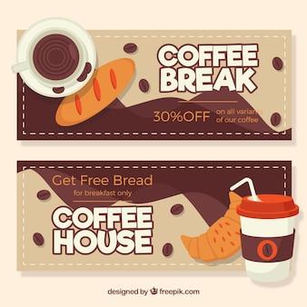 Koffie banners met kortingen