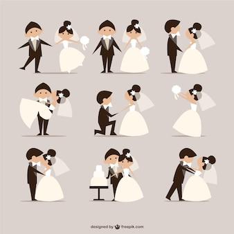 Komische stijl bruiloft elementen vector