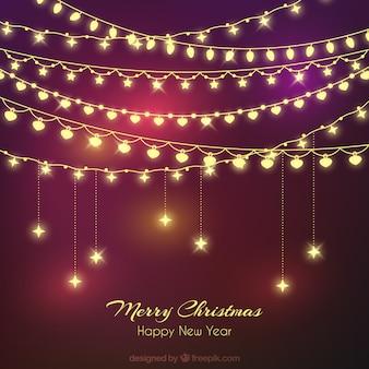 Kort kerstmis achtergrond met verlichte bollen