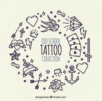 Krans gemaakt van de hand getekende tatoeages achtergrond