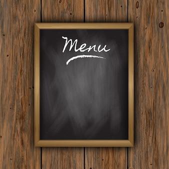 Krijtbord menu op houten achtergrond
