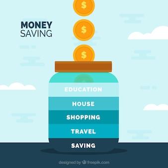 Kruik achtergrond om geld te besparen
