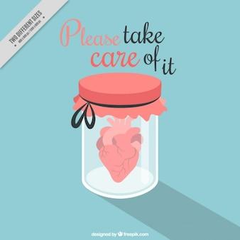 Kruik van het glas met hart en Valentijn bericht