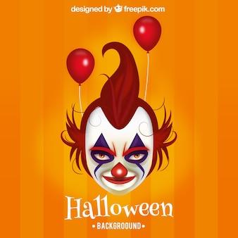 Kwade clown halloween achtergrond met rode ballonnen