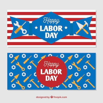 Labeldag banners in de Verenigde Staten met gereedschap in plat ontwerp