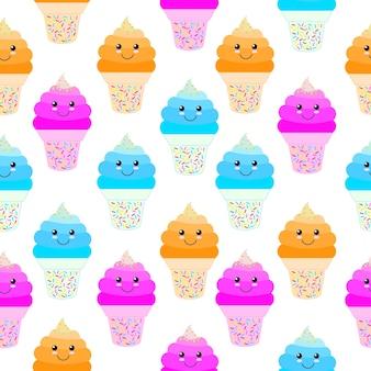 Lachende cupcakes patroon achtergrond