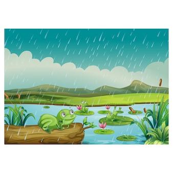 Lake achtergrond ontwerp