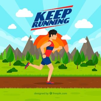 Landschap achtergrond met runner