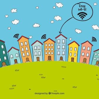 Landschap achtergrond van huizen met gratis wifi