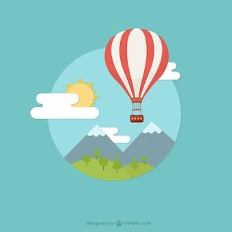 Landschap met hete luchtballon
