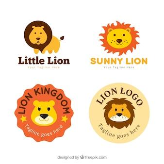 Leeuwen logo's, schattige stijl