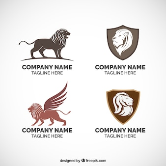 Leeuwen logo's, vier verschillende