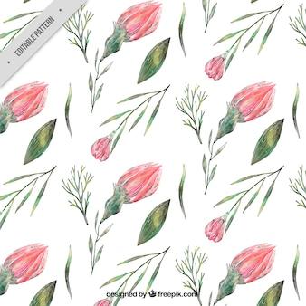 Lente patroon met bloemen en planten