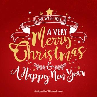 Lettering rode achtergrond van vrolijk kerstfeest en nieuwjaar