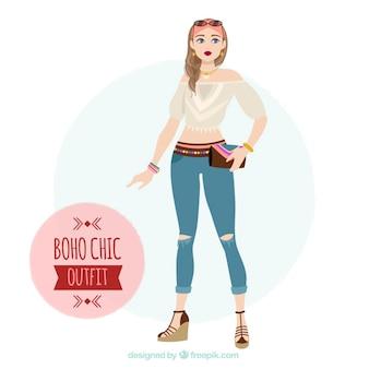 Leuk boho meisje outfit