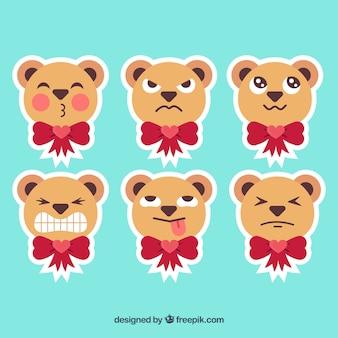 Leuk pakje teddybeer gezicht stickers