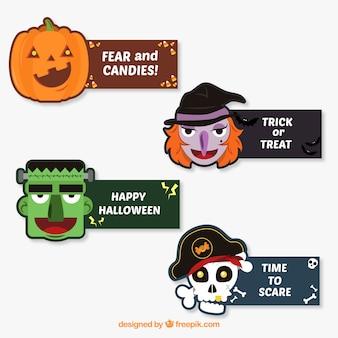 Leuk pakket met platte halloween labels