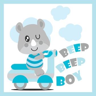 Leuke baby renoster aandrijvingen motorfiets vector cartoon illustratie voor baby shower kaart ontwerp, kid t shirt ontwerp, en behang