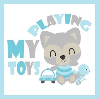 Leuke baby wasbeer speelt auto en eend speelgoed vector cartoon illustratie voor baby shower kaart ontwerp, briefkaart en behang