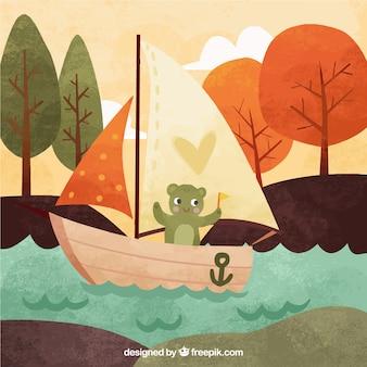 Leuke beer in een bootachtergrond