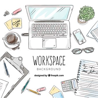 Leuke bureau met handgetekende stijl