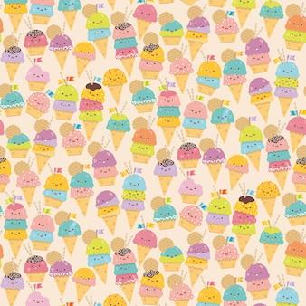 Leuke cartoon ijs kegeltjes naadloos patroon. Kawaii kleurrijke vector achtergrond.