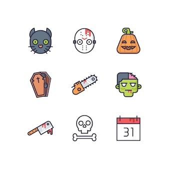 Leuke Halloween Pictogrammen En Voorwerpen