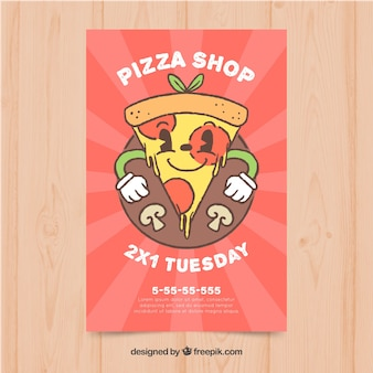 Leuke handgetekende pizza-stuk flyer