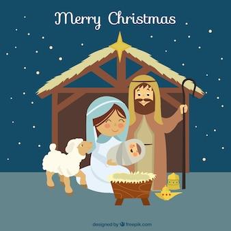 Leuke illustratie van de kerststal