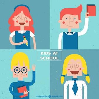 Leuke kinderen op school in een retro stijl set