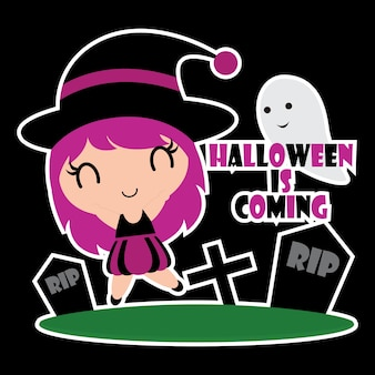 Leuke kleurrijke heks meisjes vector cartoon illustratie voor Halloween cadeau tag ontwerp, label set en kid sticker set design