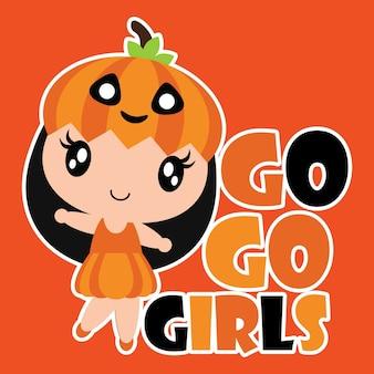 Leuke pompoenmeisje glimlacht vector cartoon illustratie voor halloween kaart ontwerp, behang en kid t-shirt ontwerp