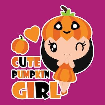 Leuke pompoenmeisje met pompoen en liefde vorm vector cartoon illustratie voor halloween kaart ontwerp, behang en kid t-shirt ontwerp