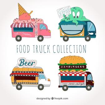 Leuke verzameling van handgetekende voedselwagens