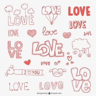 Liefde doodle ornamenten