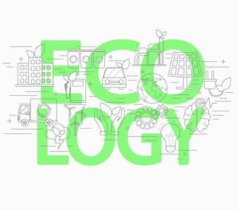 Lijnstijl concept van ecologie.